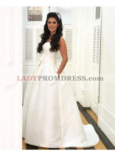 Classic A Line Sweetheart Satin Bowknot Backless Wedding Dresses 2020