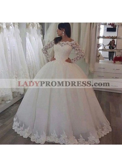 2020 Classic Off Shoulder Long Sleeves Lace Ball Gown Wedding Dresses