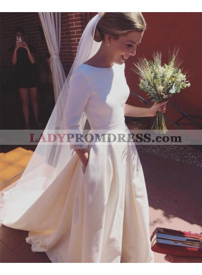 2020 A Line Elegant Satin A Line Long Sleeves Simple Backless Long Wedding Dresses