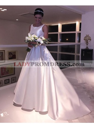 Cheap Sleeveless A Line Satin Ivory Backless Long Wedding Dresses 2020