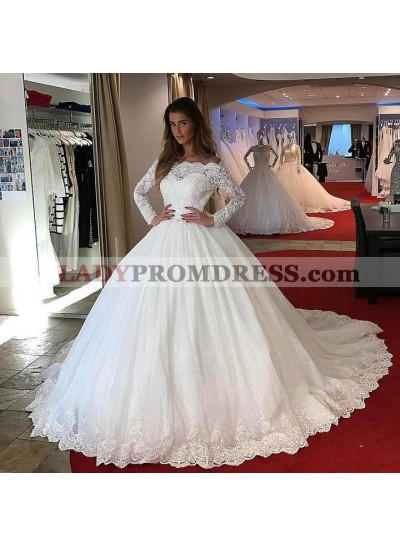 2020 Amazing Long Sleeves Lace Off Shoulder Ball Gown Long Lace Up Back Wedding Dresses
