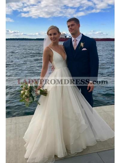 2021 New Arrival A Line V Neck Organza Backless Beach Wedding Dresses