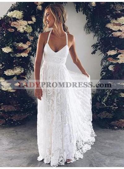 Cheap A Line Halter Sweetheart Lace Backless Beach Wedding Dresses 2019
