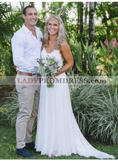 Cheap A Line Sweetheart Chiffon Backless White Beach Wedding Dresses 2021