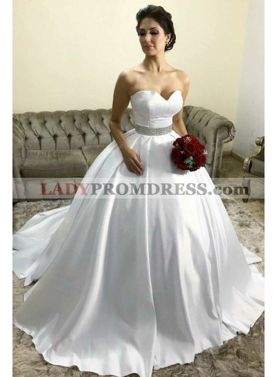 Classic Sweetheart Satin White Beaded Belt Ball Gown Princess Wedding Dresses 2021
