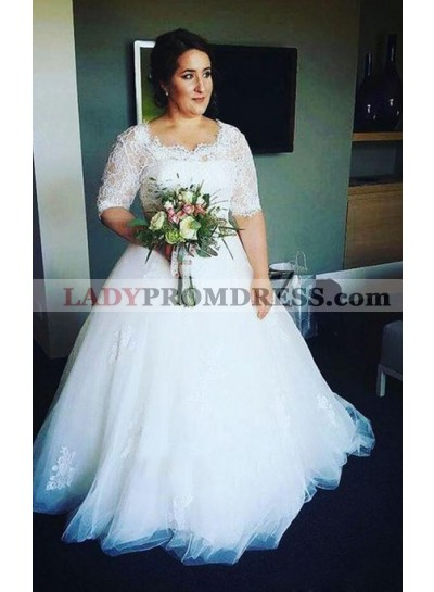 2021 New Arrival A Line Half Sleeves Tulle Round Neck Lace Plus Size Wedding Dresses