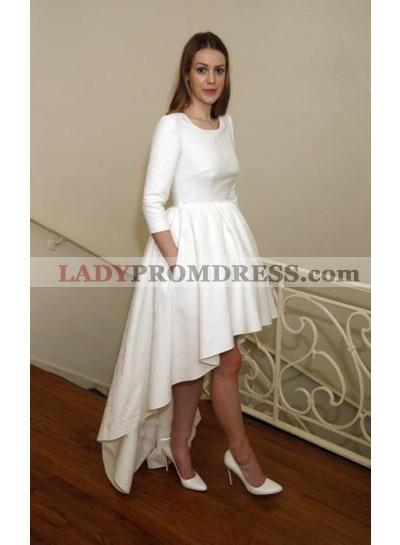 Cheap Satin A Line High Low Bateau Short Wedding Dresses 2021