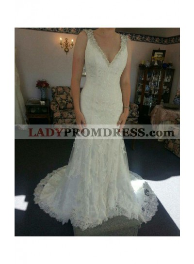Sexy Sheath V Neck Lace Beaded Long Wedding Dresses 2021