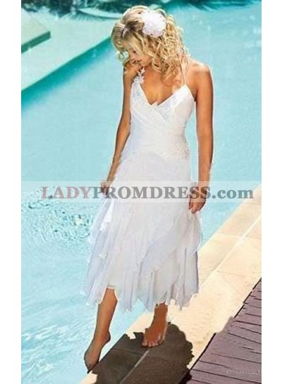 2020 New Arrival A Line Asymmetrical Sweetheart Halter Tea Length Short Wedding Dresses