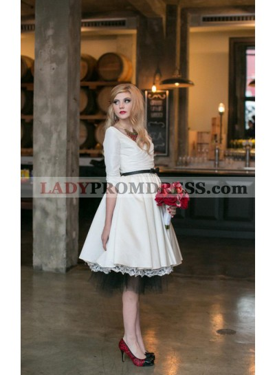 2021 Classic A Line Satin Over Lace V Neck Knee Length Long Sleeves Short Wedding Dresses
