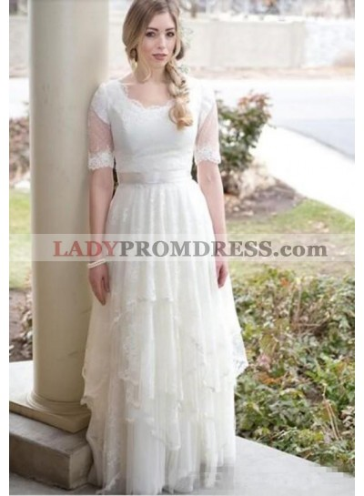 2020 Classic A Line Round Neck Half Sleeves Lace Layered Lace Up Back Beach Wedding Dresses