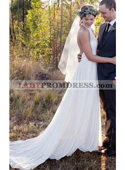 2020 Elegant A Line Chiffon High Neck Lace Backless Beach Wedding Dresses
