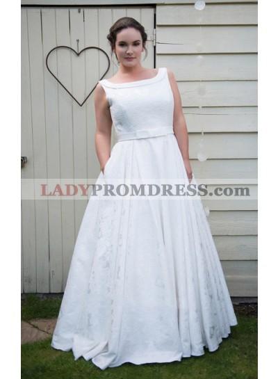 Classic A Line White Bateau Lace Bowknot Belt Floor Length Wedding Dresses 2020