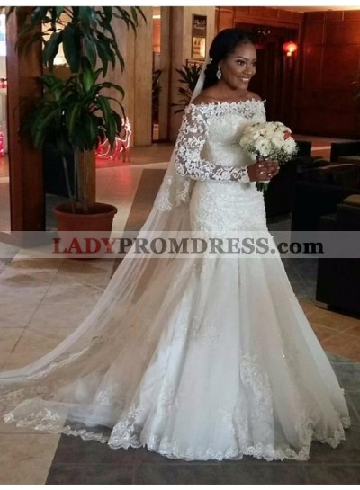 Charming Mermaid Off Shoulder Long Sleeves Ivory Lace Long Wedding Dresses 2020