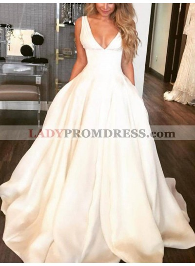 Charming A Line Satin Deep V Neck Long Ivory Wedding Dresses 2020