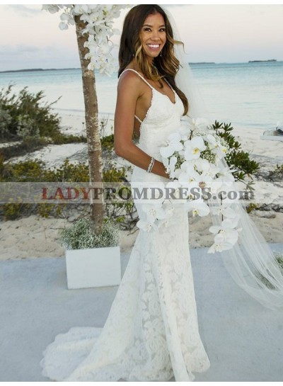 2020 New Arrival Sheath Backless Lace Sweetheart Spaghetti Straps Beach Wedding Dresses