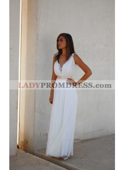 2021 Cheap A Line V Neck Chiffon Floor Length Champagne Belt Beach Wedding Dresses
