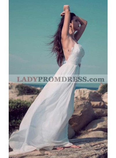 Charming A Line Sweetheart Spaghetti Straps Chiffon Lace Backless Beach Wedding Dresses 2020