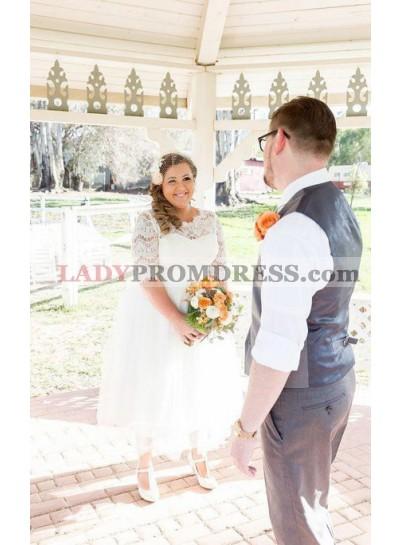 2021 Cheap A Line Tea Length Half Sleeves Lace Tulle Sweetheart Plus Size Short Wedding Dresses