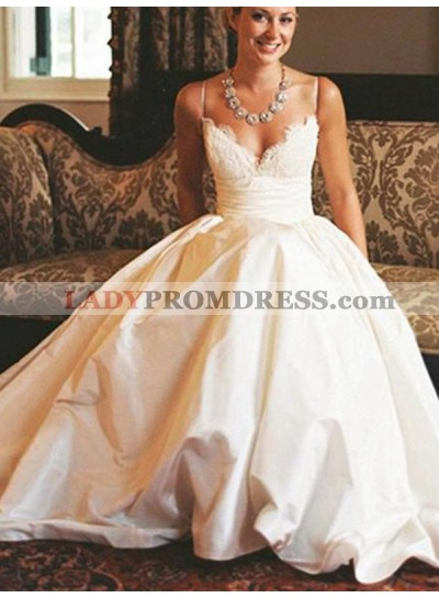 2020 New Arrival A Line Satin Sweetheart Spaghetti Straps Lace Long Wedding Dresses