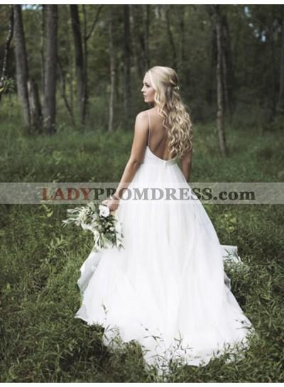 2020 Elegant A Line V Neck Tulle Backless Simple White Outdoor Wedding Dresses