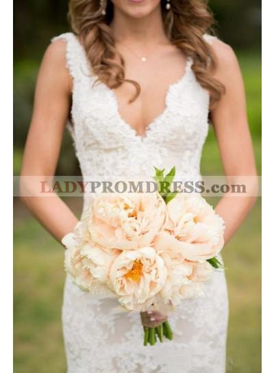 2020 Charming Sheath V Neck Backless Ivory Lace Wedding Dresses