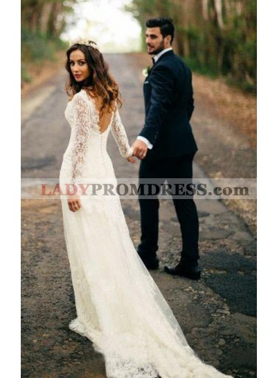 Elegant Sheath Long Sleeves Sweetheart Backless Long Lace Wedding Dresses 2021