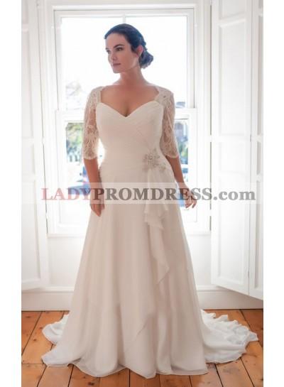 Cheap Chiffon A Line Sweetheart Pleated Long Sleeves Plus Size Beach Wedding Dresses 2019
