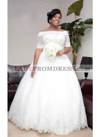 2021 New Arrival Off Shoulder Sweetheart Beaded Tulle Lace Up Back Ball Gown Wedding Dresses