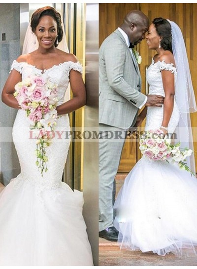 Charming Mermaid Off Shoulder Sweetheart Tulle African American Long Wedding Dresses With Beads 2020
