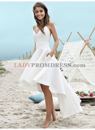 2021 Elegant A Line High Low Satin Backless Short Sweetheart Beach Wedding Dresses