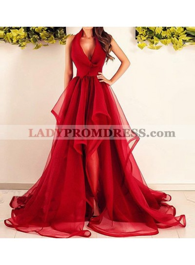 2021 V-Neck A-Line/Princess Sleeveless Ruffles Halter Organza Asymmetrical Prom Dresses
