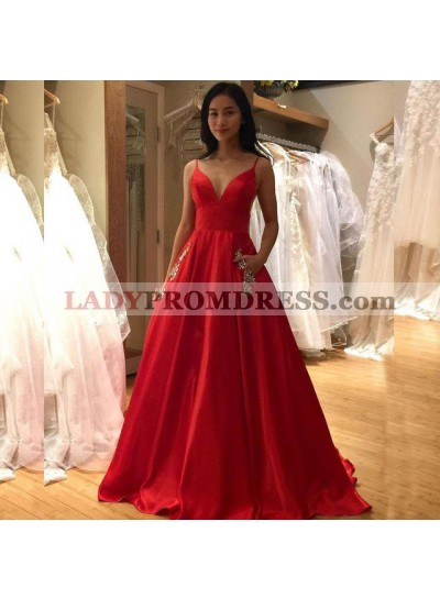 2021 New Arrival A Line Red Satin Sweetheart Spaghetti Straps Backless Long Prom Dresses With Pockets