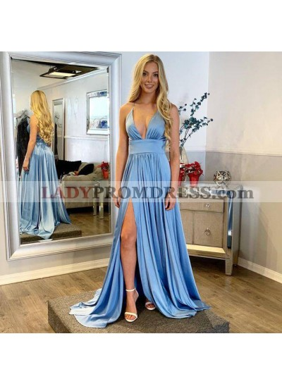 2020 Cheap Elastic Satin A Line Sweetheart Side Slit Long Blue Prom Dresses