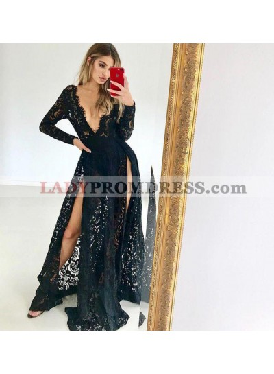 Sexy A Line V Neck Long Sleeves Black Lace Long Sleeves Slit Prom Dresses 2021