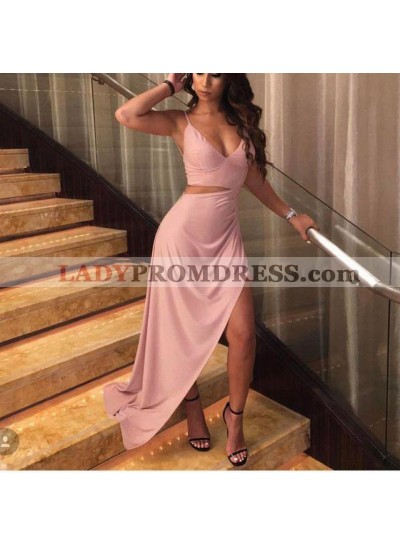 2021 New Arrival A Line Asymmetrical Sweetheart Two Pieces Pink Prom Dresses