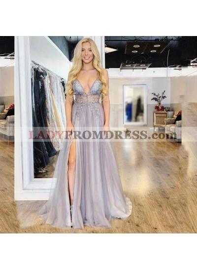2021 Elegant A Line Organza Light Slate Sweetheart Side Slit Prom Dresses