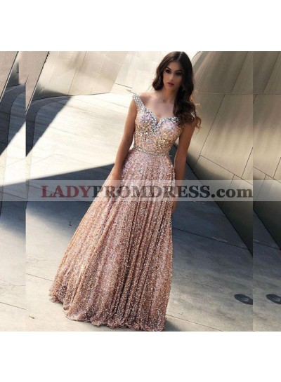 2021 Shiny A Line Off Shoulder Sequence Sweetheart Pink Prom Dresses