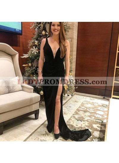Charming Black Deep V Neck Velvet Sheath Side Slit Prom Dresses 2020