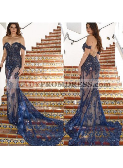 2020 Sexy Off Shoulder Sheath Tulle With Appliques Dark Navy Sweetheart Long Prom Dresses