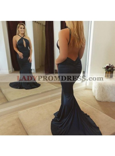 Charming Mermaid Backless Dark Navy Halter Key Hole Long Prom Dresses 2021