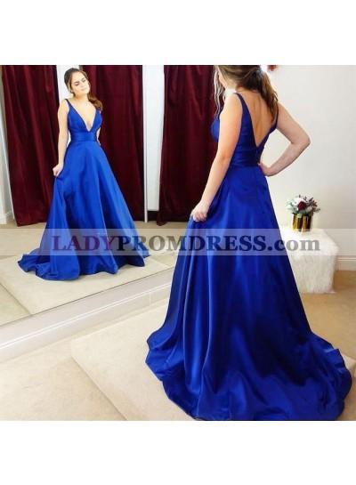 Elegant A Line Elastic Satin Royal Blue Deep V Neck Long Prom Dresses 2021
