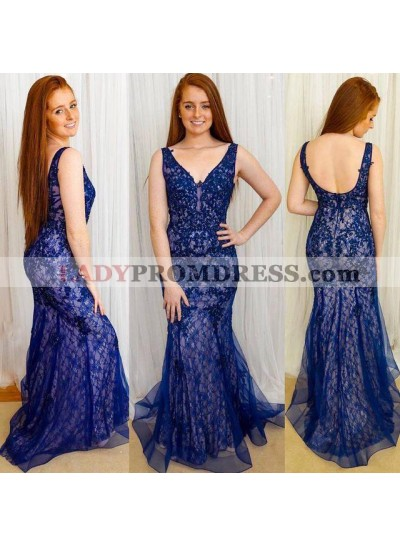 Charming Royal Blue Tulle With Appliques Mermaid V Neck Lace Long Prom Dresses 2020