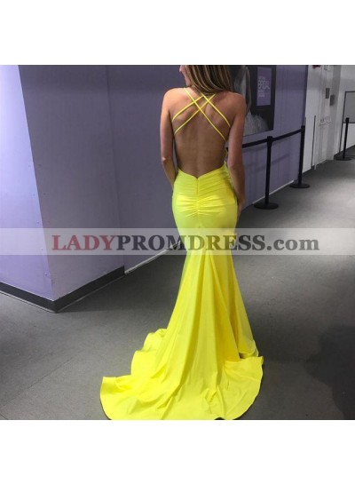 Charming Yellow Backless Criss Cross V Neck Sheath Long Prom Dresses 2021