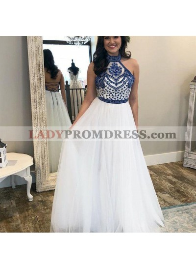 2021 Elegant A Line Lace Up Back White High Neck Tulle Embroidery Prom Dresses