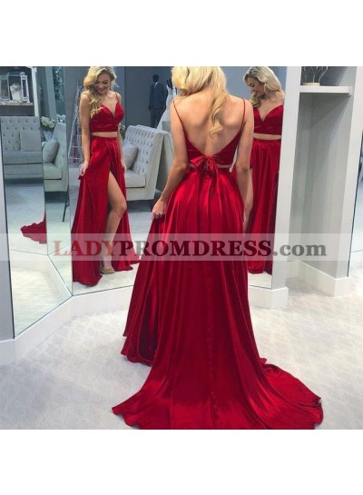 Charming Red A Line Sweetheart Side Slit Lace Up Back Long Two Pieces Prom Dresses 2020
