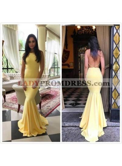 Sexy Mermaid Satin Light Yellow Backless Long Prom Dresses 2020