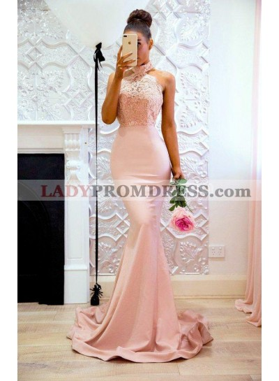 2021 Sexy Mermaid Pink High Neck Backless Satin Long Prom Dresses With Appliques