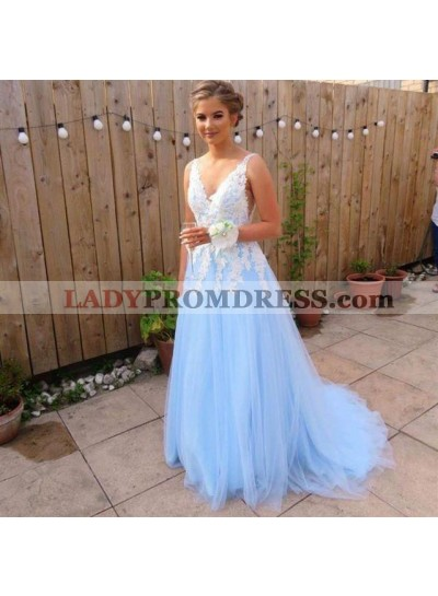 Elegant A Line Tulle Blue And White Appliques V Neck Long Prom Dresses 2021