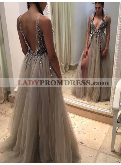 Sexy A Line Tulle Backless V Neck Gray Beaded Side Slit Long Prom Dresses 2020